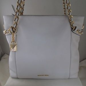 Michael Kors Optic White Remy MD Shoulder Tote New